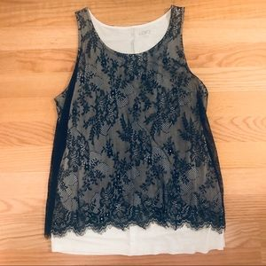 LOFT lace overlay tank top size S